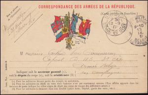 Französische Feldpost SEVRES SEINE ET OISE 12.9. / BELGIE LEGERPOSTERIJ 13.10.17