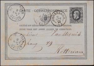 Belgien Postkarte P 8 König Leopold aus BRÜSSEL 9.11.1875 nach ROTTERDAM 9.11.75