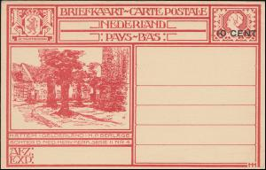 NL Bildpostkarte P 178 Hatten/Gelderland mit Aufdruck 10 Cent, ungebraucht