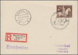 854 Das Braune Band Jagdreiter 1943 R-Karte SSt MÜNCHEN-RIEM 1.8.43 n. Leipzig