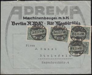 256 Infla-MeF auf Brief Firma ADREMA in BERLIN 25.8.23 nach Bielefeld