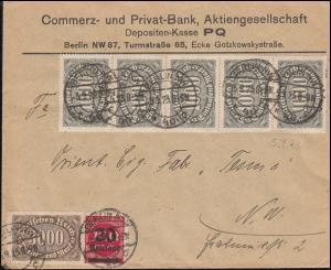 248+252+254+282 Infla-MiF auf Orts-Brief BERLIN 5.9.23 an die Firma Tesma