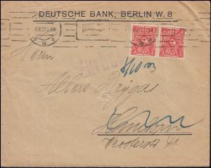 225 Posthorn 3 Mark im Paar als MeF auf Brief BERLIN 6.10.1923 nach Hannover