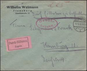 Infla-Notausgabe Gebühr-bezahlt-Stempel oval auf Express-Brief FLENSBURG 12.9.23