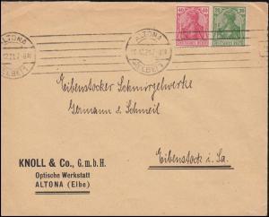 143+145 Germania-MiF auf Brief von ALTONA/ELBE 10.12.21 nach Eibenstock/Sachsen
