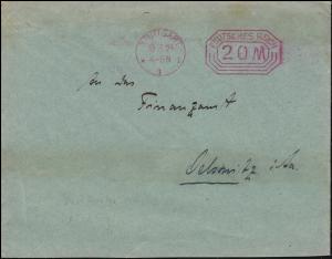 Infla 1923: Absenderfreistempel STUTTGART 10.3.23 auf Drucksache nach Oelsnitz