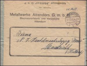Infla-Notausgabe Gebühr-bezahlt-Stempel auf Auslandsbrief ATTENDORN 27.10.1923