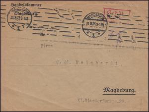 Infla-Notausgabe Gebühr-bezahlt-Stempel auf Orts-Brief MAGDEBURG 31.8.1923