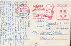 Absenderfreistempel MAGGI Fridolin SINGEN / HOHENWIEL 7.7.58 auf passender AK