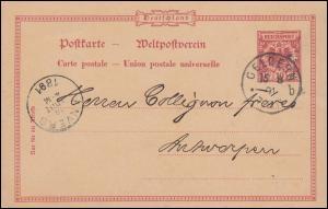 Postkarte P 25/01 mit DV 491 l von GELDERN 15.8.91 nach ANVERS 16.8.1891