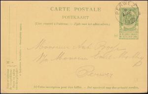 Belgien Postkarte P 44f Wappen rs. Doppelbrustbild in blau, PERWEZ 9.8.1905