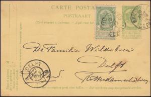 Belgien Postkarte P 44b Wappen rs. Doppelbrustbild in weinrot, BRÜSSEL 10.8.05