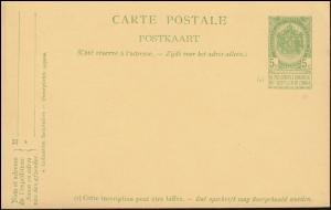 Belgien Postkarte P 44d Wappen rs. Doppelbrustbild in olivgrün, ungebraucht