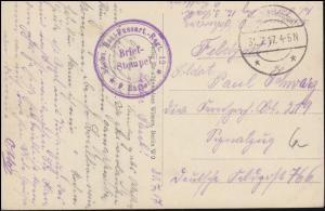Feldpost B.S. Sächsisches Res.-Fussartillerie-Regt 12 - 31.7.17 auf AK Longuyon