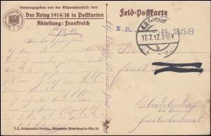 Feldpost B.S. J.R. 258 - 17.7.17 auf Propaganda-AK Frankreich Bruyeres bei Laon