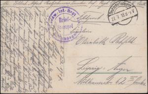 Feldpost B.S. Landwehr-Inf.-Regiment 87 - 27.7.18 auf AK Polnisches Dorf