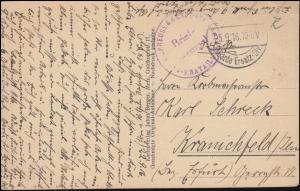 Feldpost B.S. Preuss. Garde-Inf. Regt. - 25.9.16 auf AK Euvezin - Total