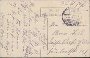 Feldpost B.S. Rekruten-Depot 15. Res.-Division - 13.7.15 auf AK Liege Panorama