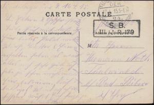 Feldpost B.S. III./J.R. 179 - 17.4.15 auf AK Lille Denkmal Die Göttin