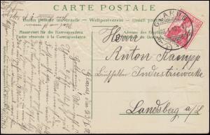 114 Helvetiabrustbild auf AK Briefmarken der Schweiz GLARUS 23.1.10 n. Landsberg