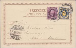 42+51 Freimarken auf AK Rathaus HELSINGBORG 11.6.1904 nach Basel/Schweiz