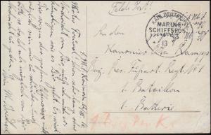 DEUTSCHE MARINE-SCHIFFSPOST No 83 - 13.7.1916 SMS Kaiserin, AK Betende am See