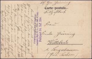 Feldpost S.B. Feldartillerie-Regiment 73 auf AK Fischer kehren zurück, um 1915
