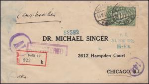 Zensur auf Infla-Brief als Einschreiben MiF BERLIN 30.5.23 nach CHICAGO 25.6.23