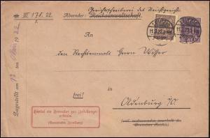 29+33 Dienstmarken auf Zustellungsurkude LEIPZIG 11.3.22 nach Oldenburg