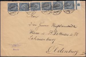 70 Dienstmarke 2 Mark senkrecher UR-Streifen MeF Infla-Brief ELSFLETH 17.11.22
