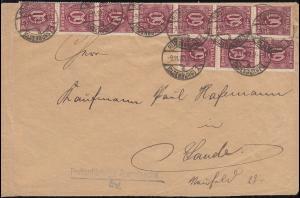 66 Dienstmarke 60 Pf. als MeF auf Infla-Brief RÜSTINGEN 9.11.1922 nach Sande