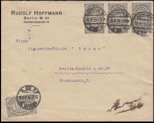 250+252 Infla-MiF portog. Orts-Brief BERLIN 28.8.23 an Zigaretten Tesma