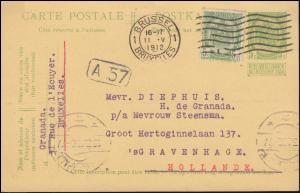 Belgien Postkarte P 38 mit Sonntagsanhängsel und mit Zusatzfr. BRÜSSEL 11.5.1912