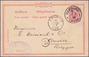 Postkarte P 21I als Auslandspostkarte von HAMBURG 17.7.90 nach ANVERS 18.7.1890