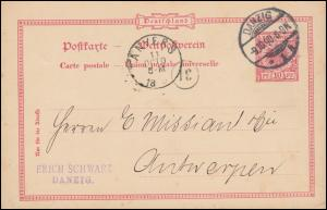 Postkarte P 21I als Auslandspostkarte von DANZIG 9.10.1890 nach ANVERS 11.10.