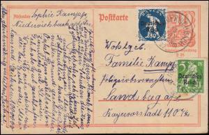 Postkarte P 141I Postreiter mit 119+128, NIEDERVIEHBACH 13.1.1922 nach Landsberg