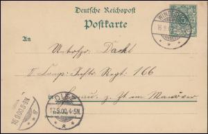 Postkarte P 36I von WINDECKEN 16.9.1900 nach DIEZ 17.9. an offene Militäradresse