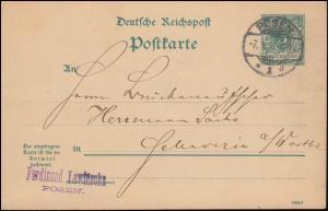 Postkarte P 24 Ziffer 5 Pf mit DV 1290f aus POSEN 7.9.1891