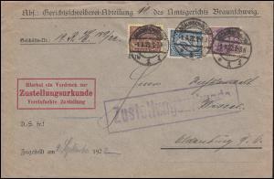 24+28+33 Dienstmarken auf Zustellungsurkude BRAUNSCHWEIG 1.9.22 nach Oldenburg