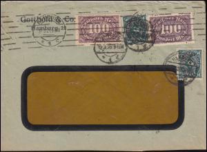 209+247 Infla-MiF portogrechter Auslandsbrief / Fensterbrief HAMBURG 12.3.1923