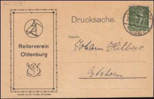 187 Berarbeiter 100 Pf als EF auf Drucksache Reiterverein OLDENBURG 29.10.1922