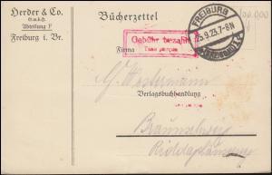 Infla-Notausgabe Gebühr-bezahlt-Stempel Bücherzettel FREIBURG/BREISGAU 25.9.23