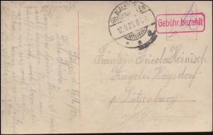 Infla-Notausgabe Gebühr-bezahlt-Stempel auf AK MALENTE-GREMSMÜHLEN 17.9.1923