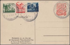PP 52 Nürnberg 27 Deutscher Philatelistentag 1921 SSt 24.7.21 mit 3 Vignetten