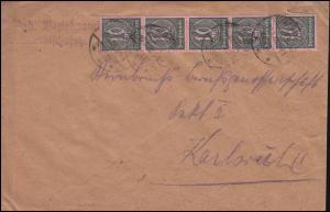 71 Dienstmarke als 5er-Streifen MeF auf Infla-Brief TAUBERBISCHOFSHEIM 19.1.23