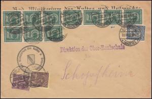 23 10fach als MiF Brief KARLSRUHE 20.11.1922 nach Schopfheim, INFLA-geprüft