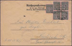 71 Dienstmarke auf Dienstbrief Reichspensionsamt BERLIN 18.1.23 nach Karlsruhe
