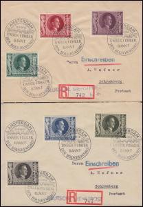 844-849 Geburtstag-Satz: 2 R-Briefe Deutsche Dienstpost SSt AMSTERDAM 20.4.43