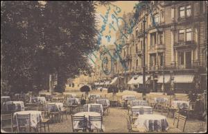Ansichtskarte Wilhelmstraße vom Cafe Berliner Hof aus gesehen WIESBADEN 2.9.1913