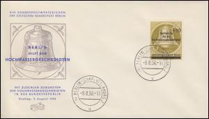 155 Hochwasserhilfe 1956 auf Schmuck-FDC BERLIN-CHARLOTTENBURG 9.8.56